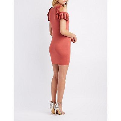 Ruffle-Trim Cold Shoulder Bodycon Dress