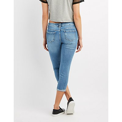 Destroyed Cropped Skinny Jeans