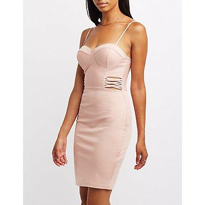 Lattice-Inset Bustier Bodycon Dress