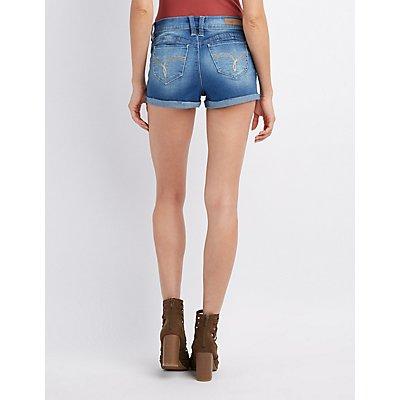 Mid-Rise Denim Shortie Shorts
