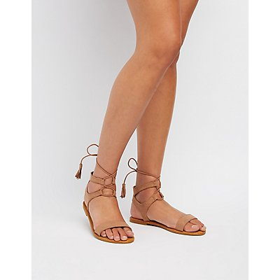 Tassel-Trim Lace-Up Sandals