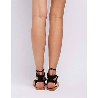 Bamboo Lace-Up Ankle Sandals