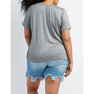 Plus Size USA Graphic Cut-Out Tee