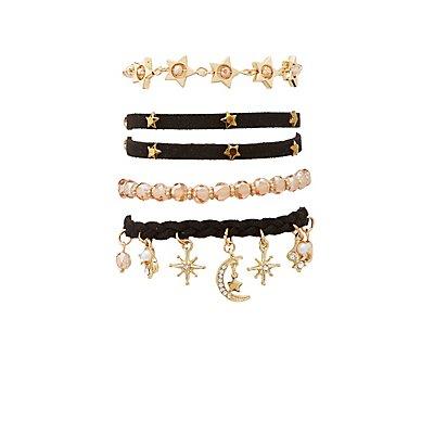 Embellished Layering Bracelets - 4 Packs