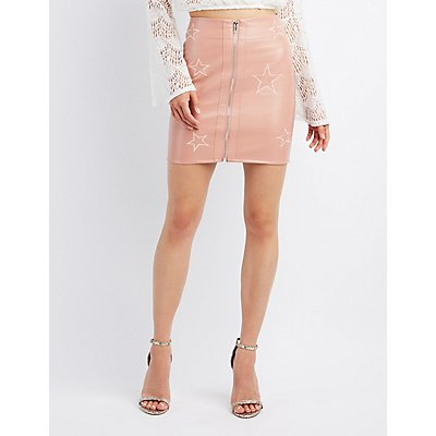 Star Embroidered Faux Leather Skirt