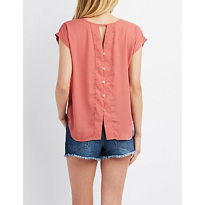 Button-Up Back Front-Pocket Boxy Top