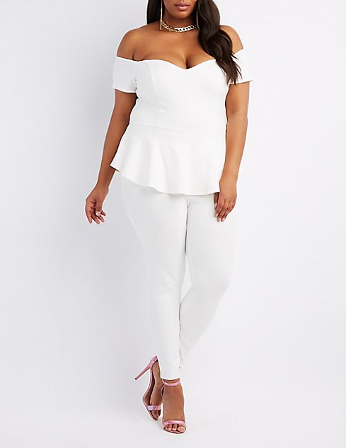 8d66773a4ab Plus Size Off-The-Shoulder Peplum Jumpsuit