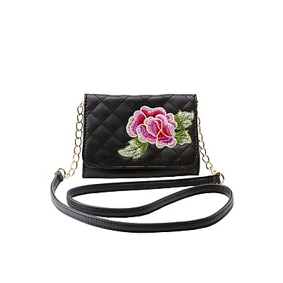 Embroidered Quilted Crossbody Bag