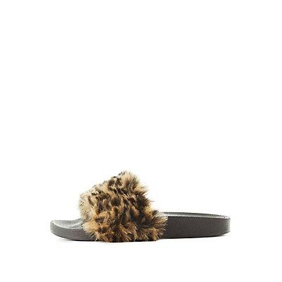 Qupid Leopard Faux Fur Slide Sandals