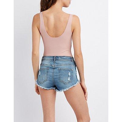 Scoop Neck Lace-Up Bodysuit