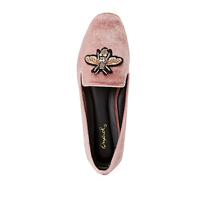 Qupid Bee Embellished Velvet Loafers