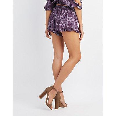 Paisley Ruffle-Trim Shorts