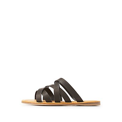 Bamboo Strappy Slide Sandals