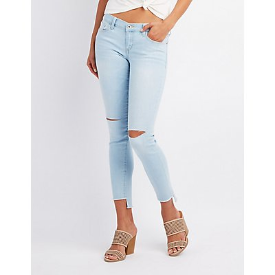 Destroyed Step-Hem Skinny Jeans