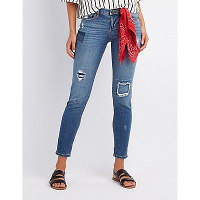 Patchwork Boyfriend Destroyed Jeans