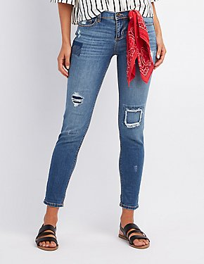 Patchwork Boyfriend Destroyed Jeans