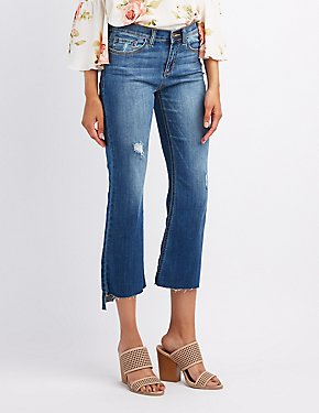 Distressed Denim Crop Flare Jeans