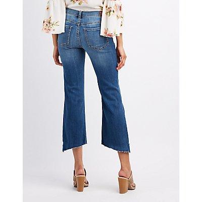 Distressed Denim Crop Flare Jeans