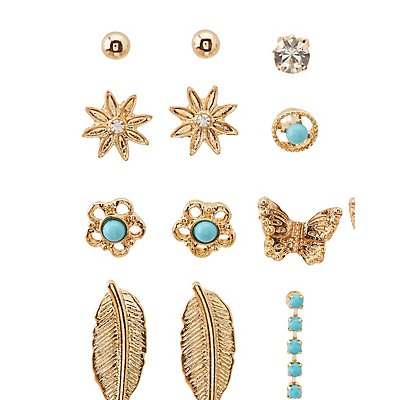 Faux Turquoise & Embellished Stud Earrings Set