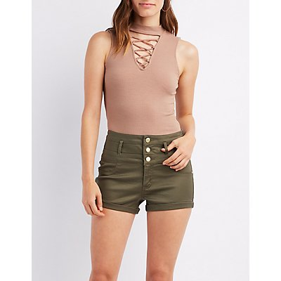 Caged Mock Neck Tank Top