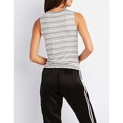 Striped Knotted-Hem Tank Top