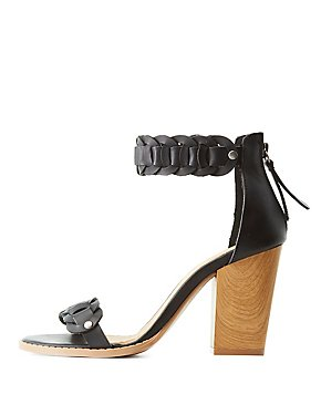 Qupid Two-Piece Braided Sandals