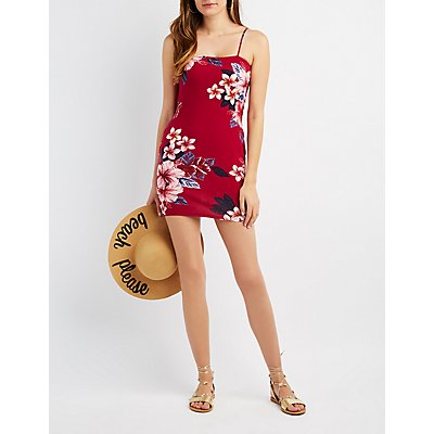 Floral Open Back Bodycon Dress