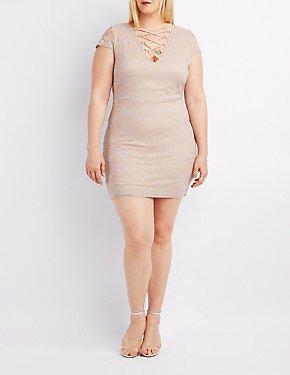 Plus Size Lace Lattice-Front Bodycon Dress