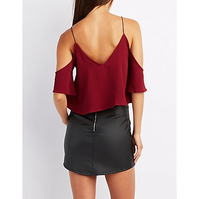 Cold Shoulder V-Neck Crop Top