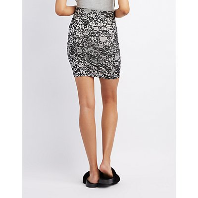 Lace Print Bodycon Mini Skirt