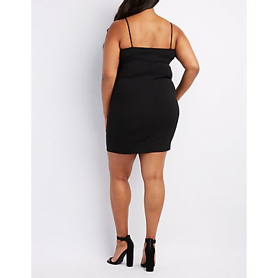 Plus Size Corset-Detail Bodycon Dress