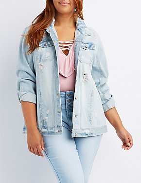 Plus Size Refuge Destroyed Denim Jacket