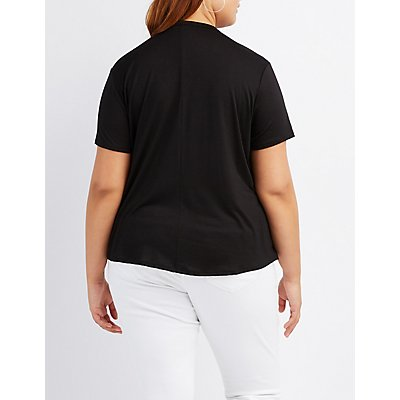 Plus Size Caged Crew Neck Boyfriend Tee