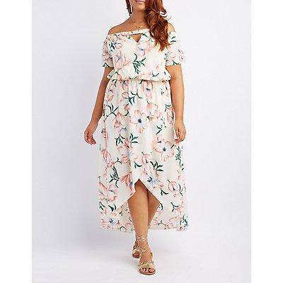 Plus Size Floral Off-The-Shoulder Wrap Maxi Dress