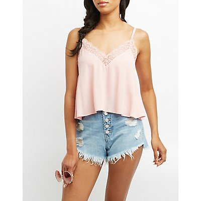 Strappy Lace-Trim Tank Top