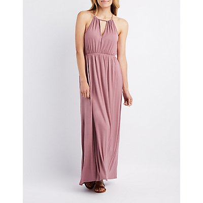 Bib Neck Open Back Maxi Dress