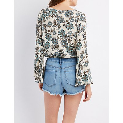Floral Bell Sleeve Crop Top