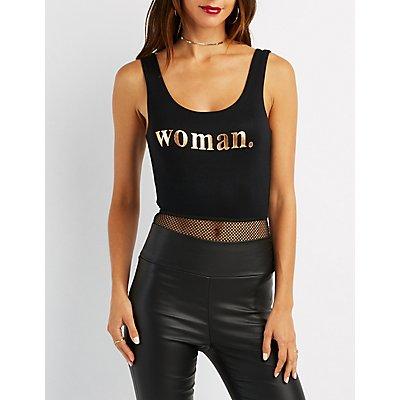 Women Mesh Combo Bodysuit