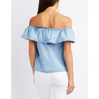 Striped Off-The-Shoulder Lace-Up Top