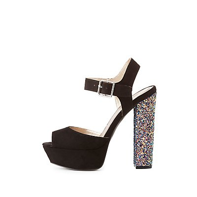 Qupid Glitter Heel Sandals