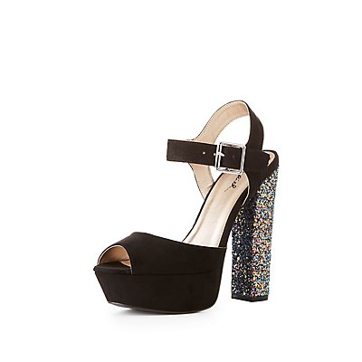 Qupid Two-Piece Glitter Heel Sandals