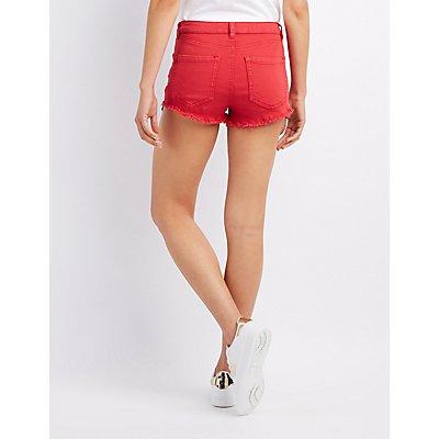Refuge Hi-Rise Destroyed Denim Shorts