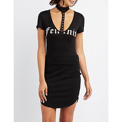Feminist Choker Neck Bodysuit