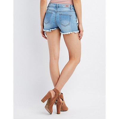 Machine Jeans Embroidered Cut-Off Denim Shorts