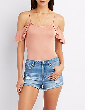 Ruffle-Trim Cold Shoulder Bodysuit