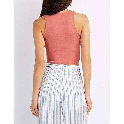 Ribbed Twist-Front Crop Top