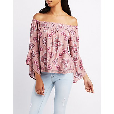 Paisley Smocked Off-The-Shoulder Top