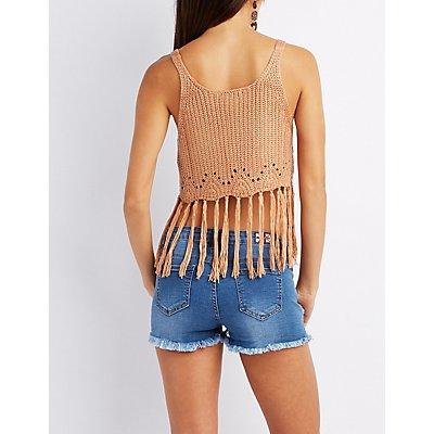 Open Knit Fringe Crop Top
