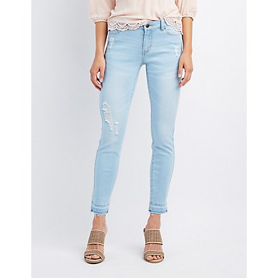 Released Hem Destroyed Skinny Jeans