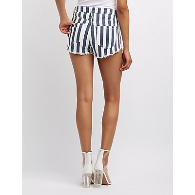 Refuge Striped Destroyed Hi-Rise Denim Shorts